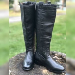Lumiani Black Pebble Leather Pull On Boots Size 7